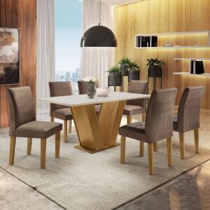 Conjunto Sala de Jantar Mesa Tampo MDF 6 cadeiras R$ 705