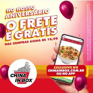 Frete grátis em compras acima de R$18,90 no site ou app do China In Box
