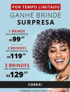 Ganhe até 3 brindes Eudora em compras acima de R$99,00