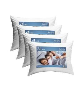 [R$ 29,76 com AME] Kit 4 travesseiros de fibra siliconada antialérgico