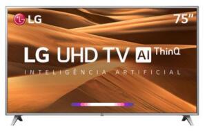 "Smart TV LED 75"" LG 75UM7510 Ultra HD 4K HDR Ativo"