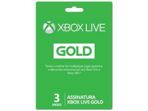 Cartão Microsoft Xbox Live Gold 3 Meses - para Xbox One e Xbox 360
