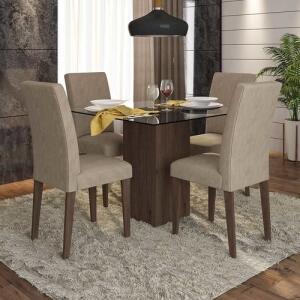 Conjunto Sala De Jantar 4 Cadeiras C/ Vidro Belize - Móveis Arapongas R$ 399