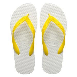Sandálias Havaianas Tradicional - Branco e Amarelo - R$15