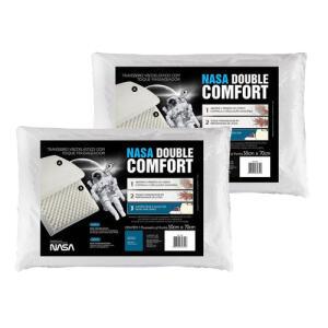 [R$30 no AME] Kit 2 Travesseiros Nasa Double Comfort 3 Ml4655 - Fibrasca | R$50