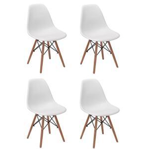 Conjunto 4 Cadeiras Charles Eames Eiffel Wood Base Madeira - Branca R$ 245