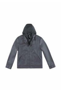 Jaqueta Masculina Em Material Sintético Com Capuz Em Moletinho - Chumbo | R$100
