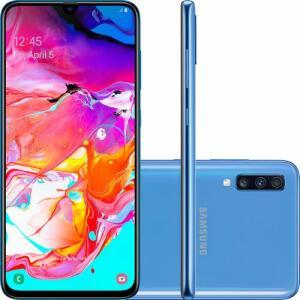 """(1259 com Ame) Smartphone Samsung Galaxy A70 128GB Dual Android 9.0 Tela 6.7"""" Octa-Core 4G Câmera 32MP + 5MP + 8MP Azul ou Branco"""