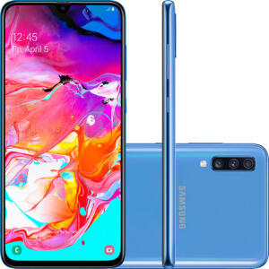 "Smartphone Samsung Galaxy A70 128GB Dual Chip Android 9.0 Tela 6.7"" - Azul (AME R$1228)"