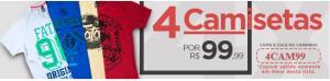 4 camisas selecionadas por 99 reais. Frete Grátis