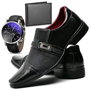 Sapato Social Verniz Com Relógio e Carteira Masculino ZARU - R$80