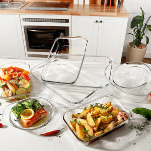 Conjunto de Assadeira de Vidro Marinex 8 peças La Cuisine