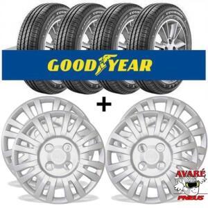 (R$ 516 com AME) Kit 4 pneus Goodyear (165/70-13) Edge Touring + 1 Jogo De Calota (uno)