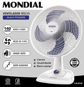 Ventilador Mondial Maxi Power 40CM V-45 Branco 140W - R$ 76
