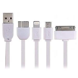 Cabo Carregador Universal USB 4x1 Branco Worldcomp