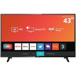"Smart TV LED AOC 43"" Full HD Xmart HDR 43S5295/78G | R$1.148"