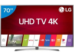 "Smart TV 4K LED 70"" LG 70UJ6585 Wi-Fi HDR - 4 HDMI 2 USB - R$4.750"