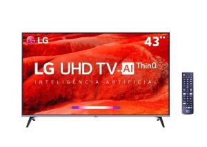 "Smart TV LED 43"" UHD 4K LG 43UM7510PSB R$ 1424"