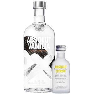 Kit Vodka Absolut Vanilla 750ml + Absolut Citron 50ml | R$56