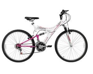 Bicicleta Aro 26 Track Bikes MTB 200 Full 18 V Branco/Magenta-(Marketplace)