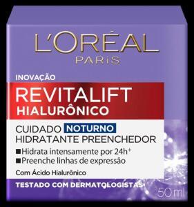 Creme Facial Anti-Idade Noturno Lorela Revitalift Hialurônico 50ml | R$43
