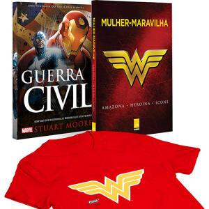[AME 50%] Livro - Mulher-Maravilha + Guerra Civil + Camiseta R$ 40