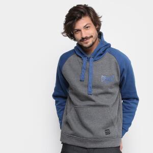 Moletom Everlast Canguru Mini Logo Masculino - Cinza e Marinho ( tamanho M)