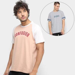 Kit Camiseta Burn Reglan Masculina + Camiseta Burn Future Masculina - Salmão e Cinza
