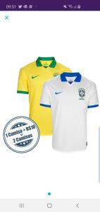 Kit com duas camisas da seleção brasileira 19/20