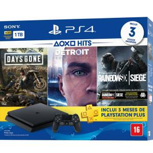 [1179,00ame]Console Playstation 4 Slim 1TB Hits Bundle 5 + Controle Dualchock 4 - PS4