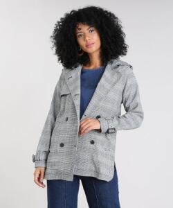 Casaco Trench Coat Estampado Xadrez R$100