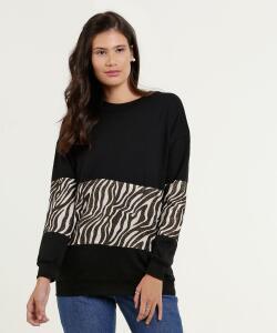 Blusão Moletom Estampa Animal Print R$36