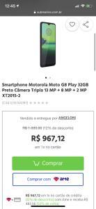 [AME POR R$483] Smartphone Motorola Moto G8 Play 32GB Preto Câmera Tripla 13 MP + 8 MP + 2 MP XT2015-2