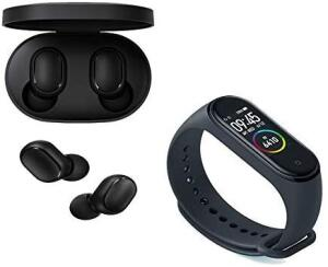 Kit Fone de ouvido Xiaomi Redmi Air Dots + Smartwatch Mi Band 4 Preto