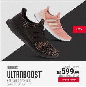 Tênis adidas UltraBoost 25% de desconto de R$799 por R$599, 12 vezes de R$50,00 sem juros com FRETE GRÁTIS