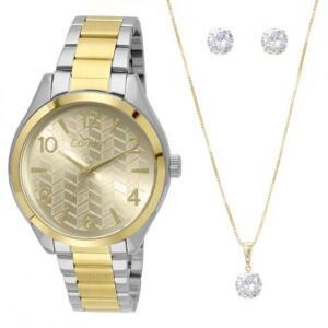 Relógio Condor Feminino CO2036KSY/K5D + Kit Colar e Brincos | R$119