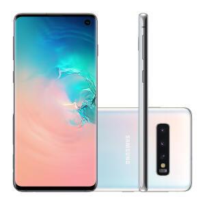 "Smartphone Samsung Galaxy S10 128GB Branco 4G Tela 6.1"" Câmera Tripla 16MP Selfie 10MP Dual Chip Android 9.0"