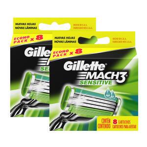 ! Rápido | Esse sempre acaba logo ! Kit de Cargas para Aparelho de Barbear Gillette Mach 3 Sensitive - 16 Unidades
