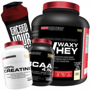 Kit Waxy Whey 2kg Baunilha + BCAA + Creatina + Coqueteleira - Bodybuilders