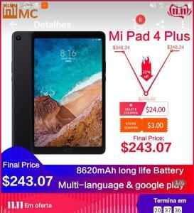 Mi Pad 4 Plus - R$1.088