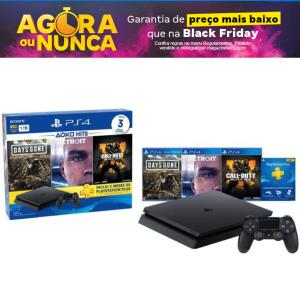 Playstation 4 1TB 1 Controle Sony com 3 Jogos - 3 Meses PS Plus   R$1.799