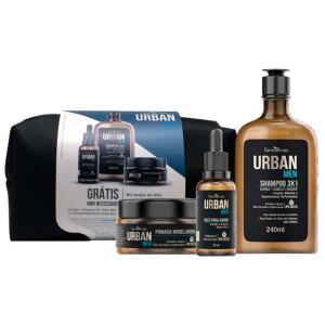 Kit Urban Men Farmaervas (Shampoo + Óleo para Barba + Pomada Modeladora) - Grátis Necessaire