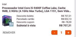 Processador Intel core i5 9400F - R$707,00