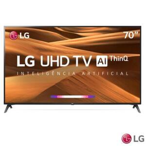 "Smart TV 4K LG LED 70"", ThinQ AI, Google Assistant, R$ 4449"