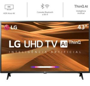 [R$1.200 AME] Smart TV Led 43'' LG 43UM7300 Ultra HD 4K Thinq AI Conversor Integrado 3 HDMI 2 USB Wi-Fi Inteligência Artificial R$1.499