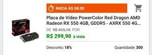 Placa de vídeo Radeon RX 550 4GB GDDR5 - RED DRAGON