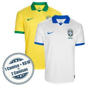 [R$ 99,96 cada] Kit Camisa Seleção Brasil NIKE I 19/20 s/nº + Camisa Seleção Brasil III