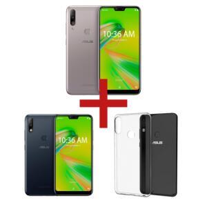 Zenfone Max Shot 3GB/32GB Prata + ASUS Zenfone Max Plus (M2) 3GB/32GB Preto + Bumper para Zenfone Max Shot   R$1.299