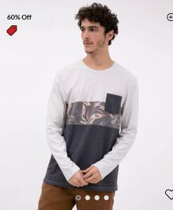 Camiseta com Estampa e Bolso  | R$20