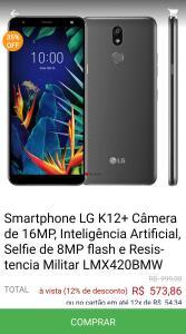 LG K12+ Câmera de 16MP, Inteligência Artificial, Selfie de 8MP flash e Resistencia Militar
